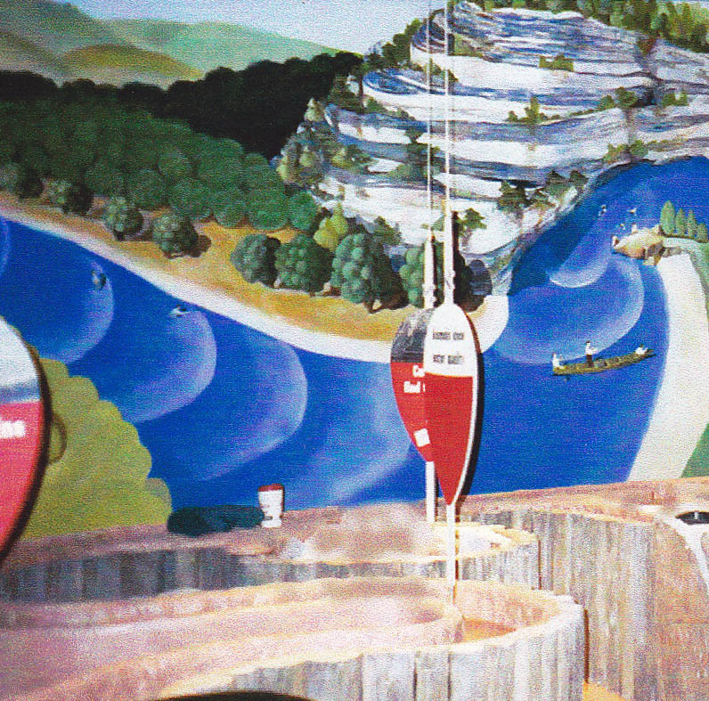 Missouri River Scene Murals inspired by Grant Wood