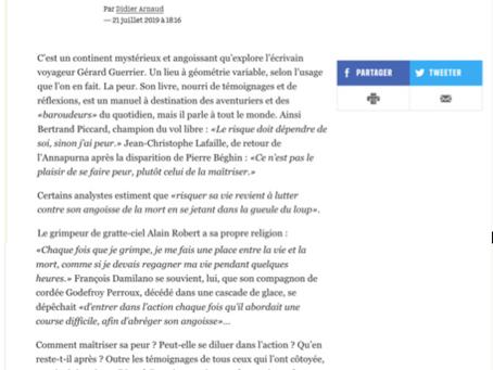 Eloge de la Peur… Livre du jour de  Libé du 21 Juillet