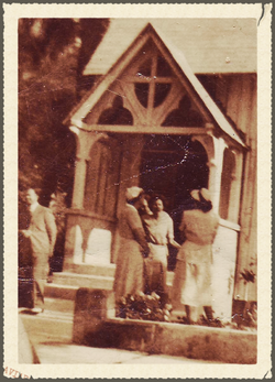 Gathering Parisiioners 1940's