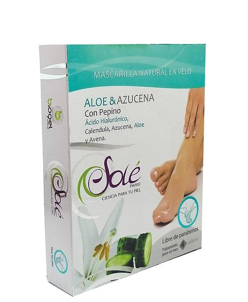 Mascarilla natural en velo  para pies (calcetín) - Caja x 6 unidades