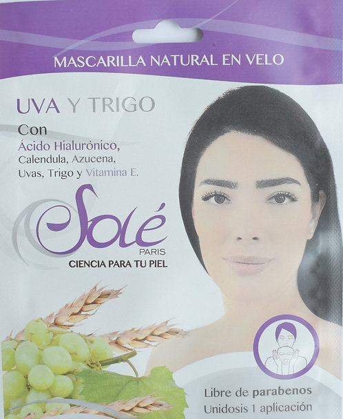 Mascarilla natural en velo facial