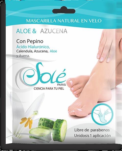 Mascarilla natural en velo  para pies (calcetín)