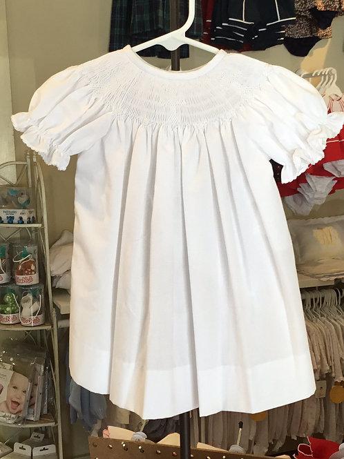 Lulu Bebe White Smocked Cross Dress