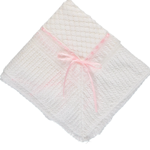 CARRIAGE BLANKET W/PINK RIBBON