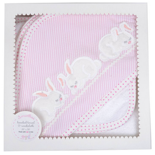 3MARTHAS HOODED TOWEL AND WASHCLOTH SET