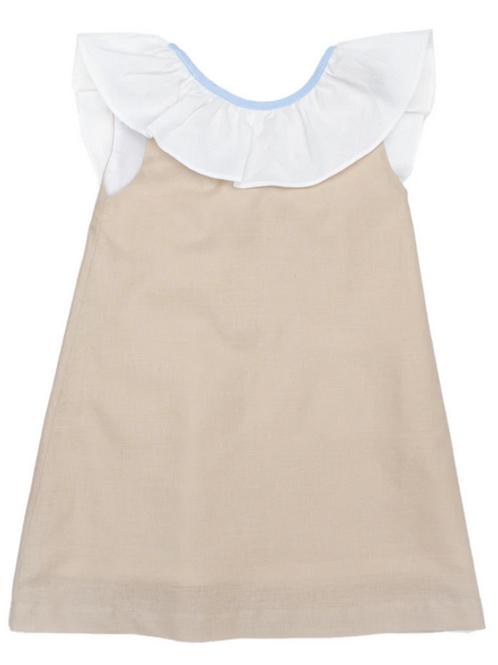 Ally Kole Tan and Ivory Linen Dress