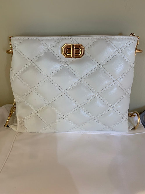 White Pleated Leather Purse