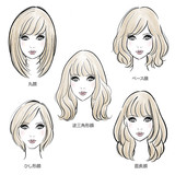 5 Hair Style by Face Types / 顔タイプ別ヘアスタイルイラスト