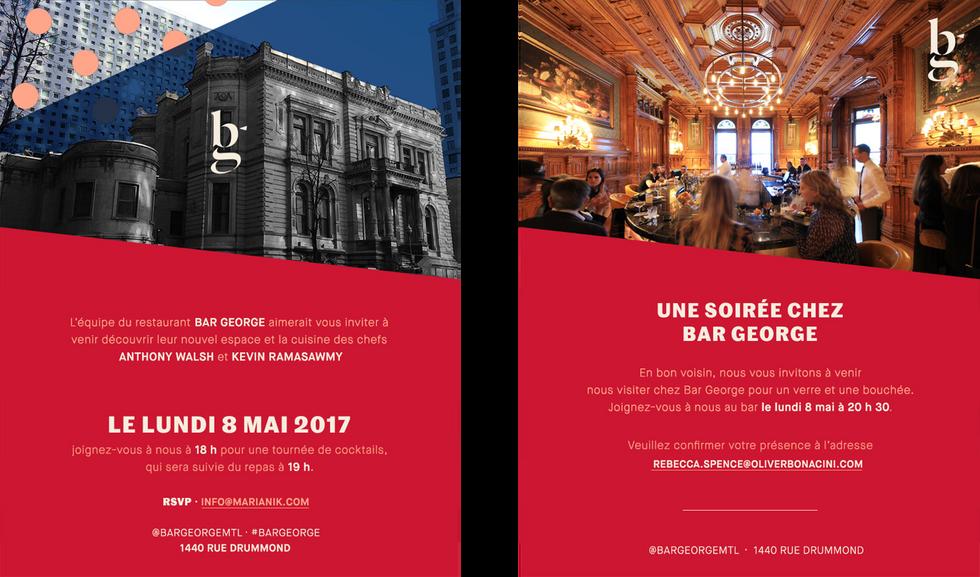 Bar George Invites