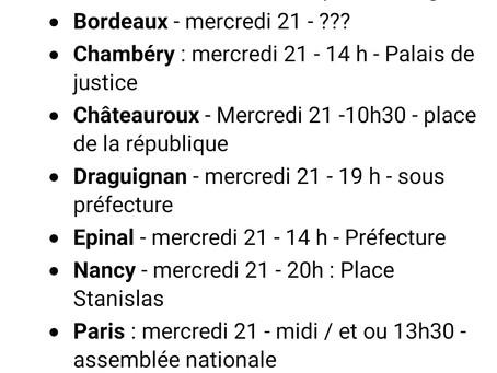 Manifestations prévues Mercredi 21 juillet contre le pass sanitaire en France