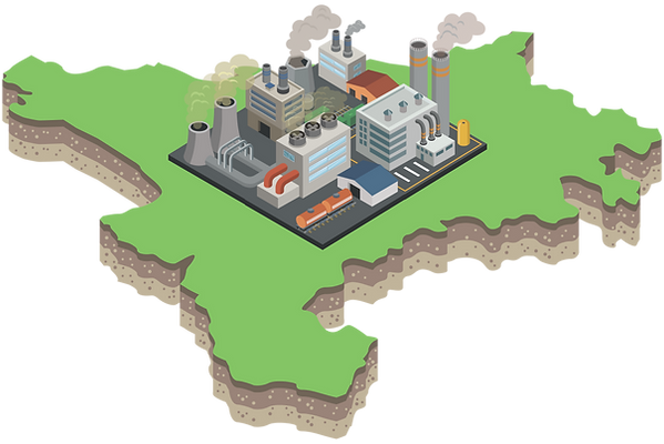 Energy and Industry map illustration