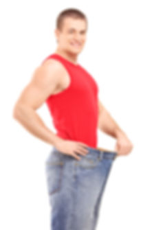 A satisfied weight loss man in a pair of