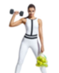 Strong woman with dumbbell and bag of ap