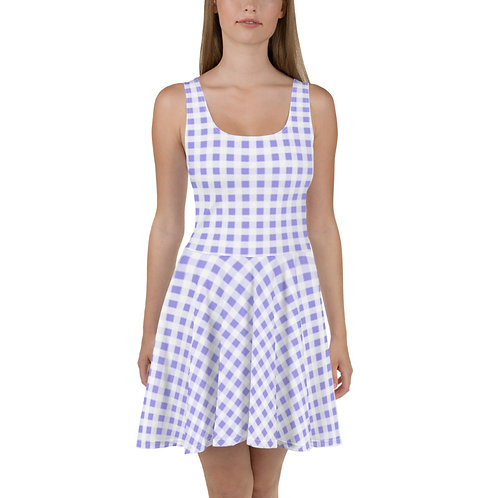 Sea Blue Gingham Floral Dress