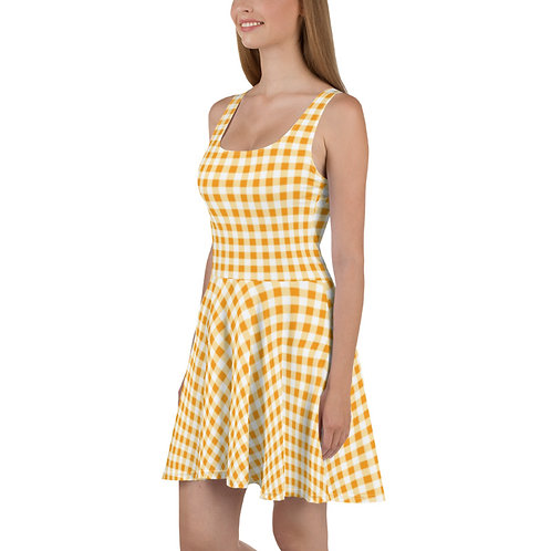 Sunflower Yellow Gingham Floral Dress