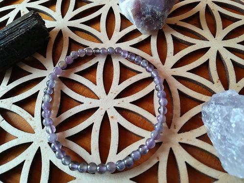 Améthyste : bracelet perles 4mm