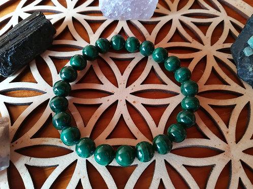 Malachite : bracelet perles 8mm