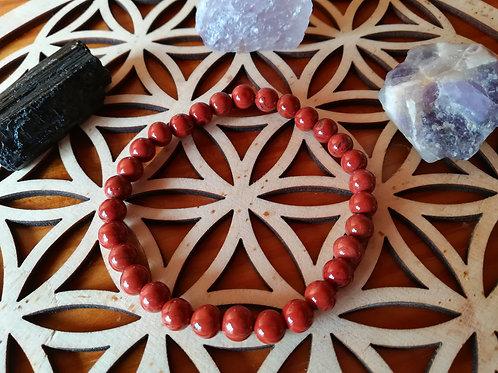 Jaspe rouge : bracelet perles 6mm