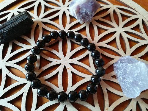 Obsidienne noire : bracelet perles 8mm