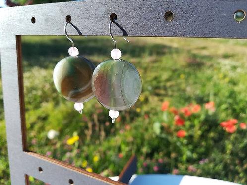 Agathe et Quartz rose : boucles d'oreilles tout en douceur