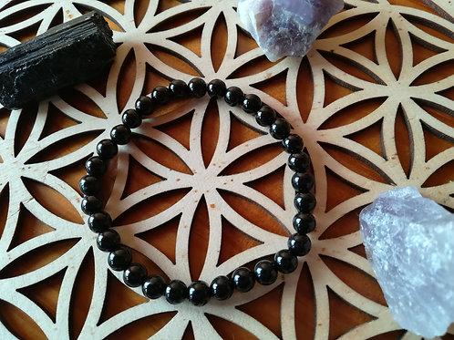 Tourmaline noire : bracelet perles 6mm