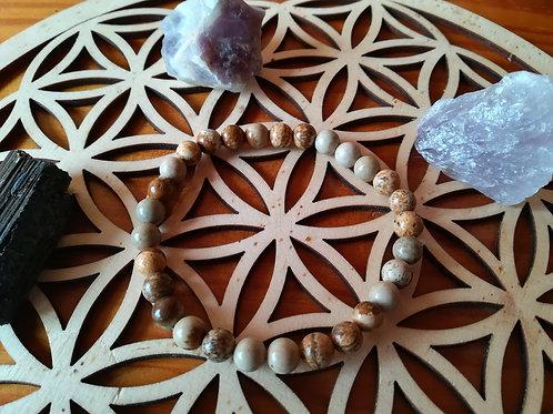 Jaspe paysage : bracelet perles 6mm