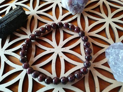 Grenat des indes : bracelet perles 6mm