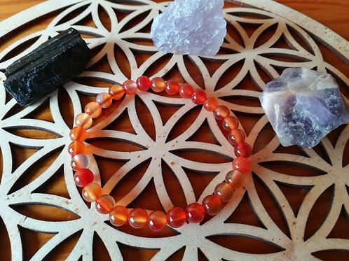 Cornaline : bracelet perles 6mm
