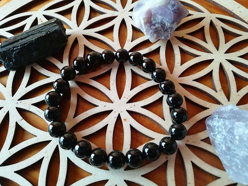 Onyx noir : bracelet perles 8mm