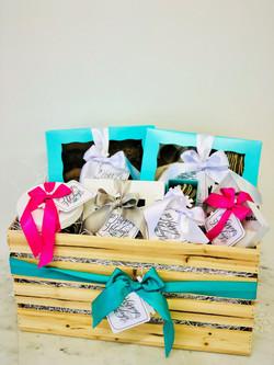 60-piece gourmet gift basket, $120