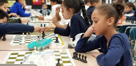 Young student playing chess