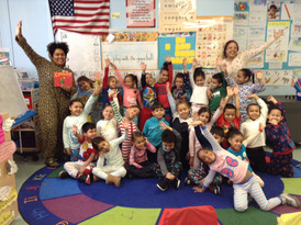 Teachers posing with their class