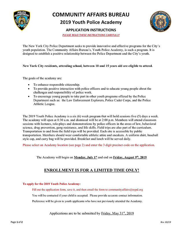 Youth Police Academy Application | home