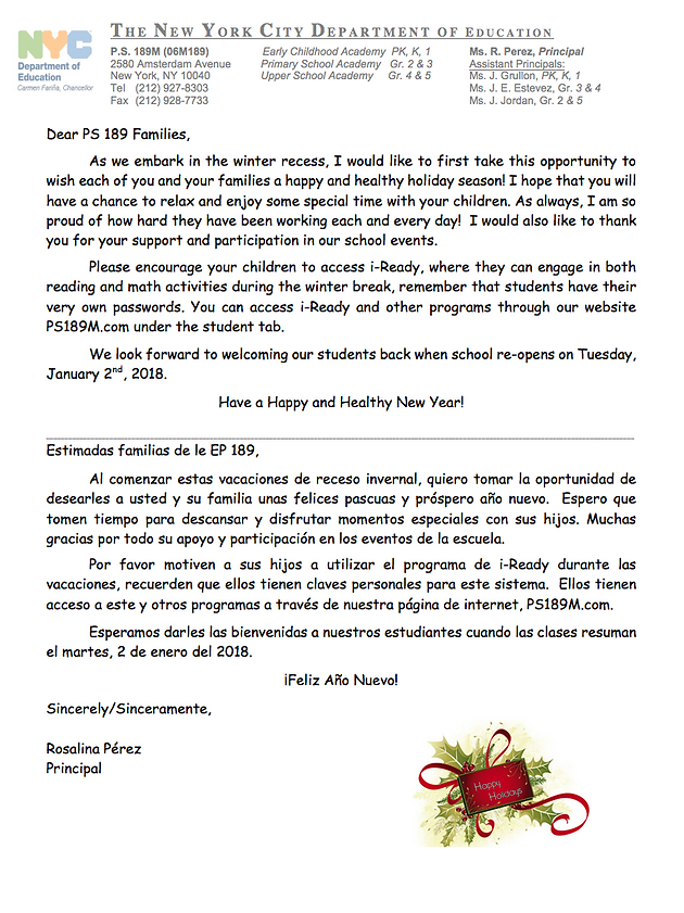Parent Holiday Letter | home