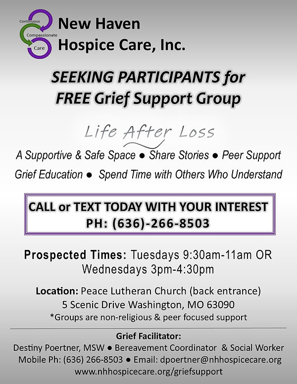 grief support group participants needed