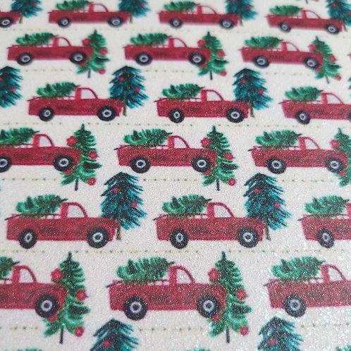Glitter Christmas tree red truck