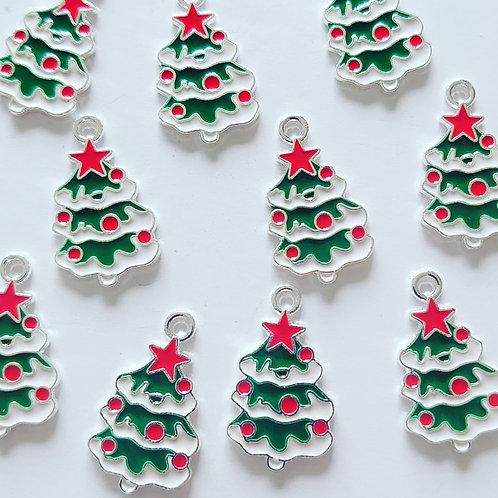 Snowy christmas tree charm