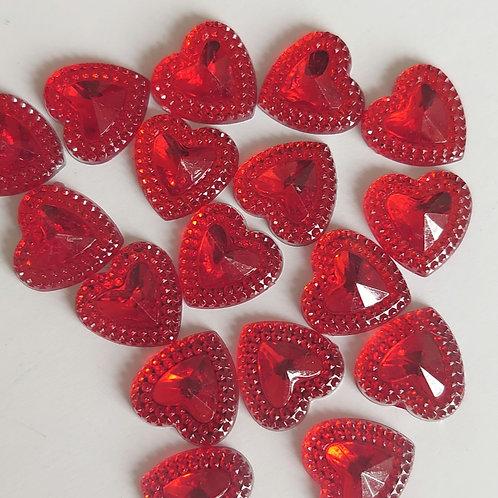 Red heart Flatback embellishments