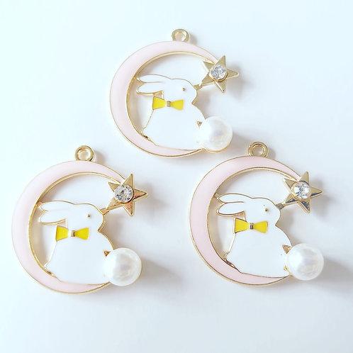 pearl pink rabbit charm