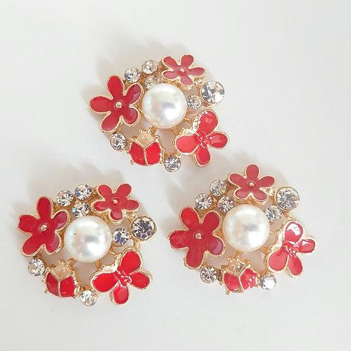 Red flower embellishment
