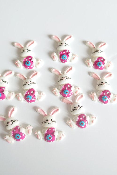 Hot pink resin rabbit Flatback embellishments