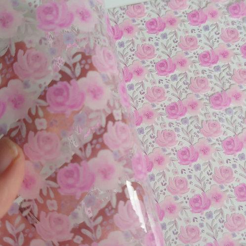 Pink floral rose transparent