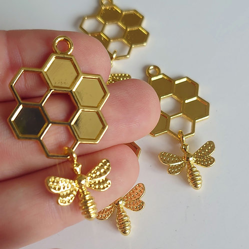 Honeycomb bee charm