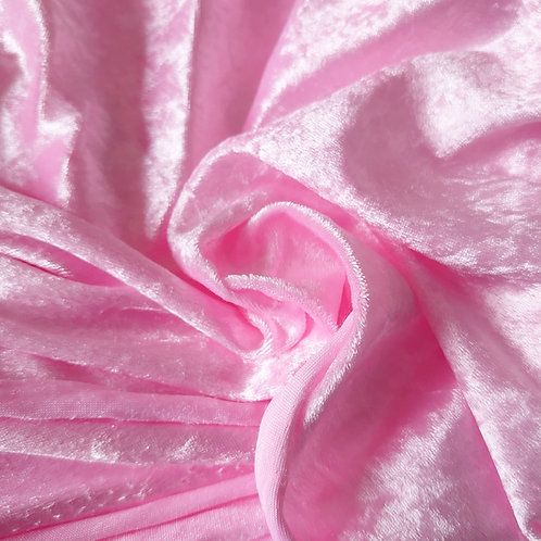 Baby pink crushed stretch  velvet fabric