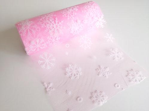 Pink Snowflake tulle