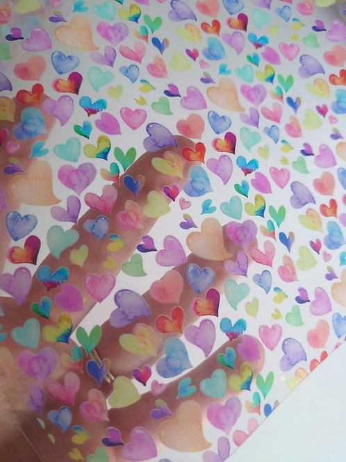 Rainbow heart transparent pvc jelly sheets