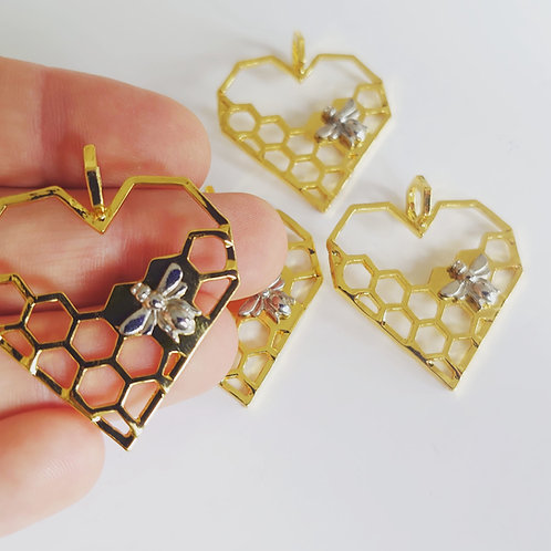 Heart honeycomb charm
