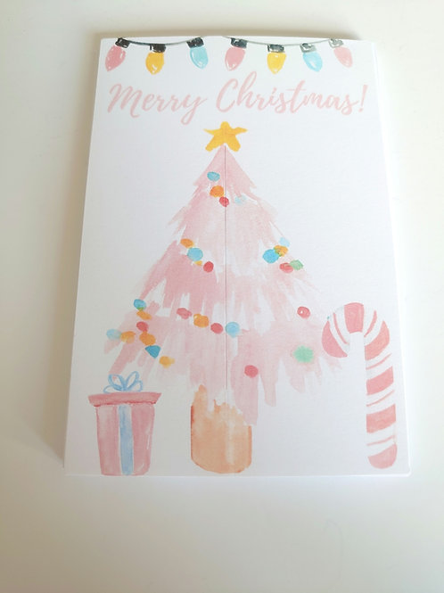 Christmas tree bow card