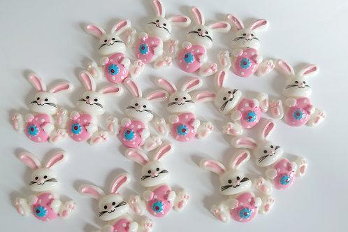 Pink bunny resin Flatback embellishments