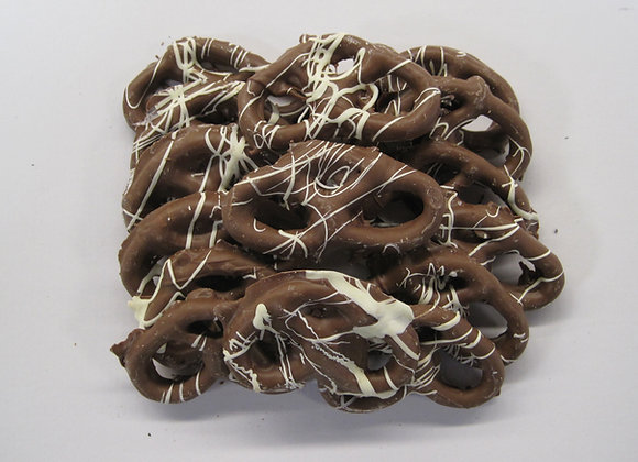 Striped Milk Chocolate Covered Pretzels